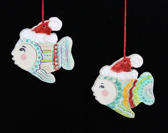 Santa Fish Ornament, Handmade Ceramic Decoration by Southwest Artist, Karlene Voepel.  Sold individually.
