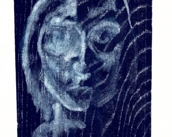 Blue woodblock print, woodcut, Japanese, hand pulled print, water, ripples, nature, printmaking, portrait