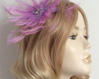 LILAC and MAUVE FASCINATOR, With hackle feathers, beaded detail, on clip