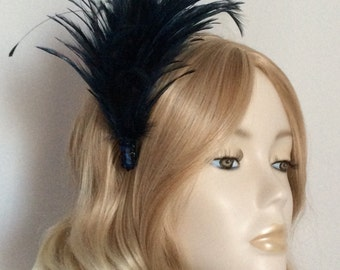 NAVY FEATHER FASCINATOR, Hackle and tipped coque feathers, sequins,mounted on a comb