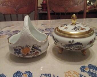 Vintage 1960's Royal Porcelain Dresser set, basket, covered dish, Germany