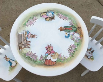 hand painted child's table set, peter rabbit table set