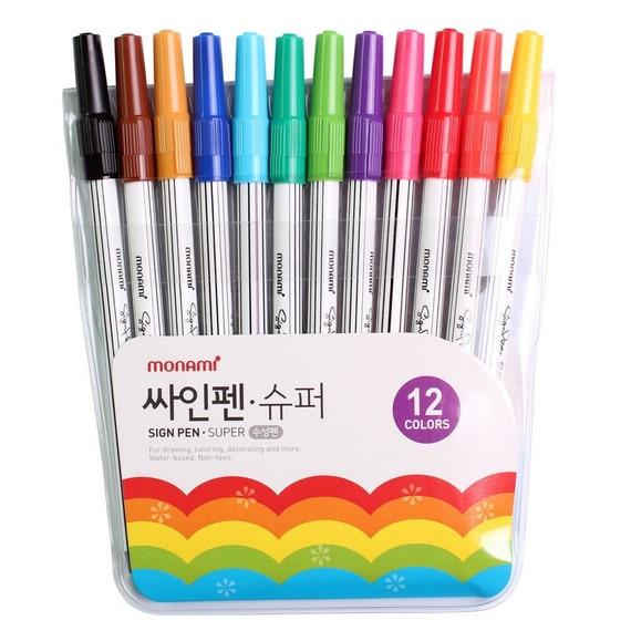 12 Monami Super Markers, Korean Felt Tip Sign Pen; Coloring Books ...
