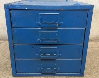 Small Vintage Four Drawer Industrial Metal Cabinet (56Y27V)