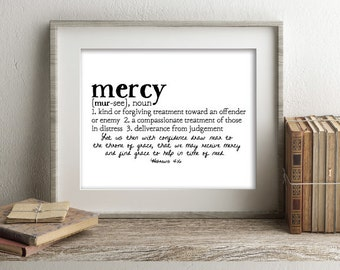 MERCY Defined Series Printable Art, Hebrews 4:16, Definition Print, Affordable Home Decor, Scripture, Bible Verse, Typography, Minimalist