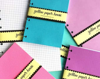 Disc Punched Planner Notepaper 40 Sheets ~ Fits Happy Planner Mini ~Your choice of 22 colors and 10 patterns
