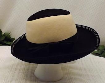 60s Doeskin Felt Wide Brim Black White Hat Size 7 1/8 Junior Seasons