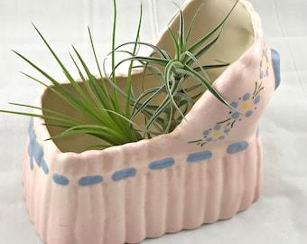 Vintage Planter Baby Girl Pink Bassinet Hand Painted Ceramic