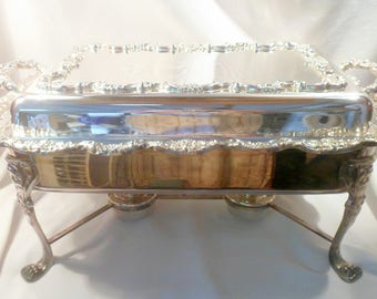 Large Towle Two-Burner Silver Plated Food Warmer, Buffet Service