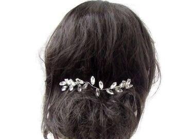 Silver Diamante Hair Vine Comb Bridal Headpiece Wedding Rhinestone Art Deco 2626