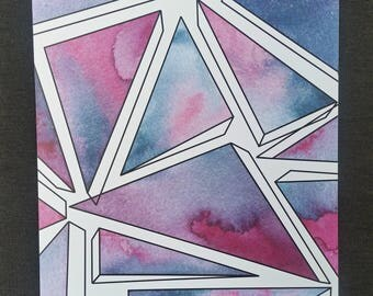 Geometric Watercolor Print - Magenta and Teal Toppling Triangles
