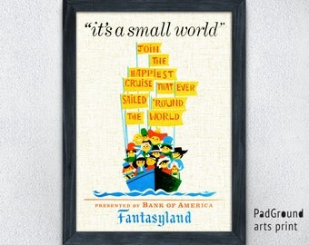 Disneyland Poster, It's a Small World, Fantasyland Print, Vintage, Home Decor, Wall Decor, Playroom Decor, Kids Decor, Gifts, Frame -17pg