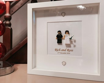 Lego wedding gift frame. Custom! Bride wears lace dress.