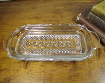 Glass Butter Dish Tray - Pressed Glass Design - Scalloped Edge