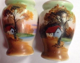 Painted Home Scenic Salt & Pepper Shakers - Japan 1950's