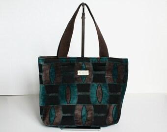 Dark blue and brown velvet small tote bag