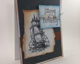 Ship Sailing birthday card