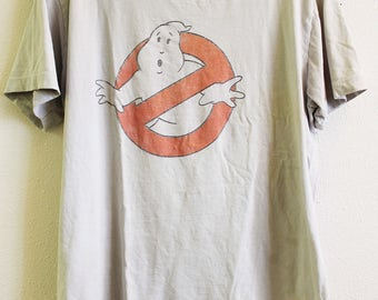 Vintage t-shirt Ghostbusters 1980's distressed worn thin soft gray AS-IS signed spots on back