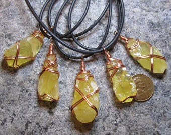 One Copper Wrapped Yellow-Orange Calcite Shard Pendant- Rough, raw, freeform piece- Natural wire wrapped crystal/stone/mineral jewelry