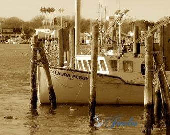 Laura Peggy ~ Galilee,  Narragansett, Rhode Island, Beaches, Waves, Coastal Decor, Nautical Photograph, Fishing Boats, Galilee