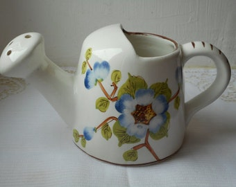 vintage Italian porcelain decorative watering can hand painted vase / ornament