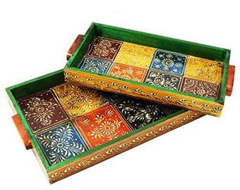 Rajasthani Wooden Tray Set of 2