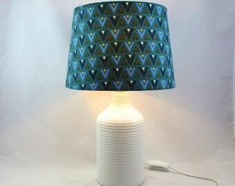 Table lamp - ceramic salon lamp white green @Rêve graphic shade lamps