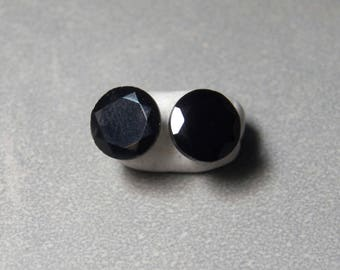 10mm Faceted Black Onyx Gemstone Post Earrings with Sterling Silver