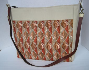 Handbag Purse Fabric Handmade Women's Accessories, Crossbody, Orange Leaf Print, Divider