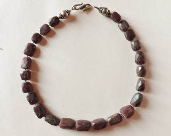 """Necklace ruby zoïsite """"anyolite"""" faceted, accessories and clasp silver"""