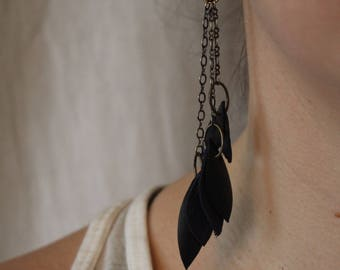 Black feathers on brass chain earrings - handmade from upcycled bike inner tubes