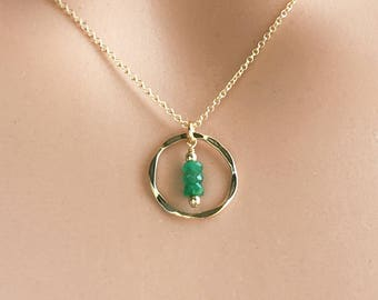Dainty Emerald Necklace Gold - Birthstone Necklace May - Birthday Jewelry Gift Ideas for Women - Gold or Sterling Silver