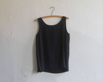 vintage silk top / black silk sleeveless blouse