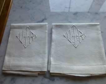 """Two Large Linen Hand Stitched Hand Towels, Letters V and R, 30"""" x 17"""""""