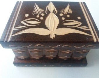 New brown cute puzzle surprise box handmade wooden secret magic puzzle jewelry ring holder box gift treasure