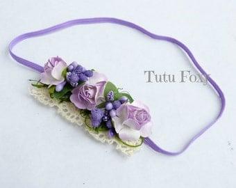 Lavender flower Headband, Purple flower headband, Girls flower Headband, baby flower headband, newborn flower headband,