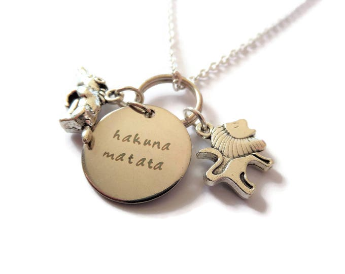 hakuna matata necklace, lion necklace, lion gift, simba necklace, theatre show, lion king gift, lion king jewellery, lion king jewelery