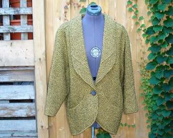 Vintage 1980's Kucci Yellow and Black Tweed Lined Wool Jacket weaved jacket/blazer/coat, Kucci first class, size 9