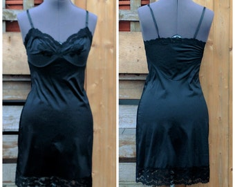 Vintage 1970's Black 100% Nylon Slip Dress Long Fitted Lace Lingerie Slip / Negligee / Night Gown
