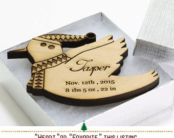Baby Bird Ornament - Baby Keepsakes - Personalized Baby Gift Baby Birth Information - Baby's First Christmas Engraved Wood Ornament #350