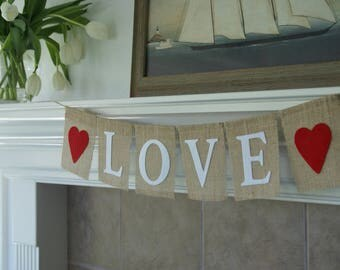 "Red and White Burlap and Felt ""LOVE"" Banner with Hearts"
