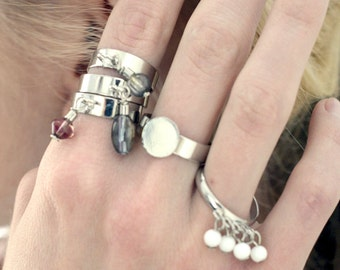 ring set two pieces ball pendants silver plated brass components fits every size