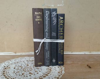 Vintage book bundle/ chic charcoal coloured theme/ 4 books to display or read/ nice vintage condition