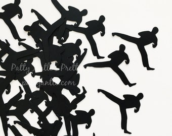 Karate Die Cuts, Karate Confetti, Karate Silhouette, Martial Arts Confetti, Martial Arts Die Cuts, Tae Kwon Do Die Cuts, 28 Ct.