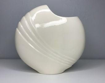 vintage shiny white round vase