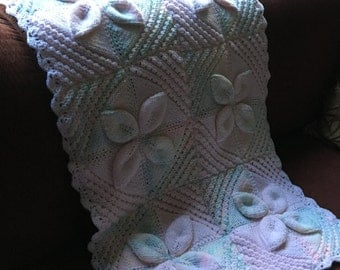 Hand knit baby/pram blanket, One of a kind, Warm and comforting