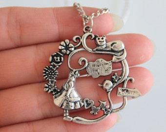 Alice in Wonderland Necklace/Antique Silver Jewelry/Alice Necklace/Alice Pendant Necklace 42*43mm
