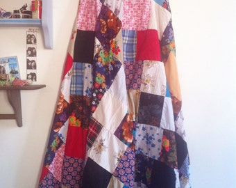 Little house on the prairie maxi skirt, patchwork of many different fabrics / small - medium