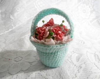 Flower Basket Pincushion - Mint Green Crochet Pink Satin Flower and Lace Knit Pin Cushion with Pins - Sewing Needle Storage Organiser Gift