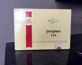 STATE EXPRESS 333 Cigarette Tin, Advertising Tobacco Tin, Three Threes, Ardath Tobacco Co. Ltd., Vintage Tin Flat Pack